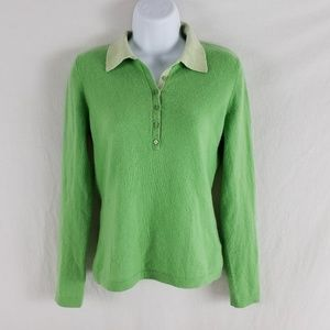 Jones New York Cashmere Polo Sweater Green